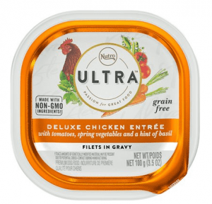 NUTRO ULTRA Grain-Free Adult Wet Dog Food Deluxe Chicken Entrée with Spring Vegetables, Tomato and a Hint of Basil – Filets in Gravy